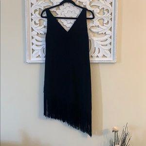 Rachel Roy Black Asymmetrical Hem Fringe Dress